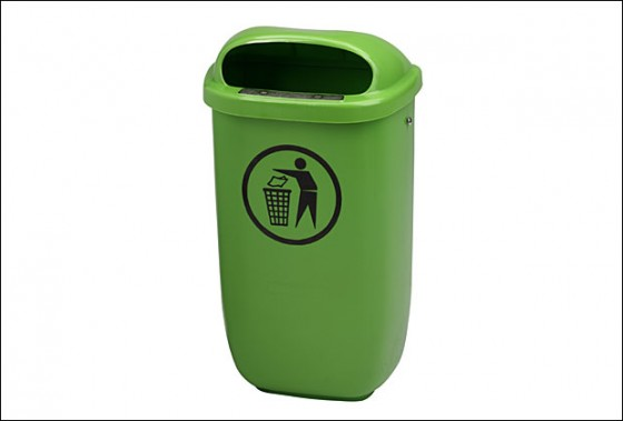 Abfallbehälter Kunststoff, grün 50 l inkl. 2x 2005003 und 4x 1029386