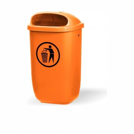 Abfallbehälter Kunststoff, orange 50 l inkl. 2x 2005003 und 4x 1029386
